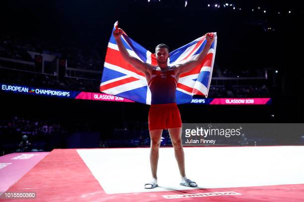 Dominick Cunningham of Great Britain pose for a photo after winning the Floor Exercise during the Men's Gymnastics Final on Day Eleven of the...