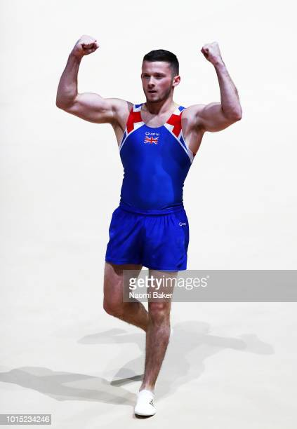 Dominick Cunningham of Great Britain reacts after competing in Floor Exercise in the Men's Team Gymnastics Final during the Gymnastics on Day Ten of...