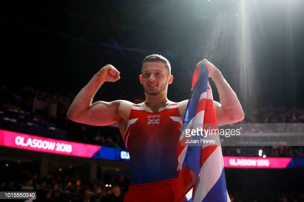 Dominick Cunningham of Great Britain reacts after winning the Floor Exercise during the Men's Gymnastics Final on Day Eleven of the European...