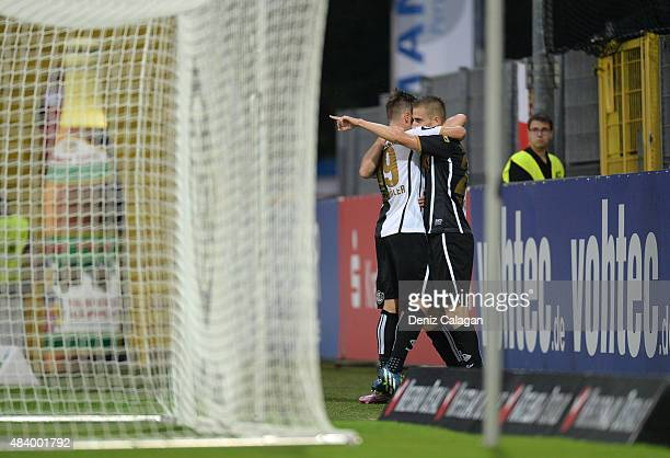Dominick Drexler of Aalen celebrates his teams first goal at ScholzArena during the 3 Liga Match between VfR Aalen and VFL Osnabrueck on August 14...