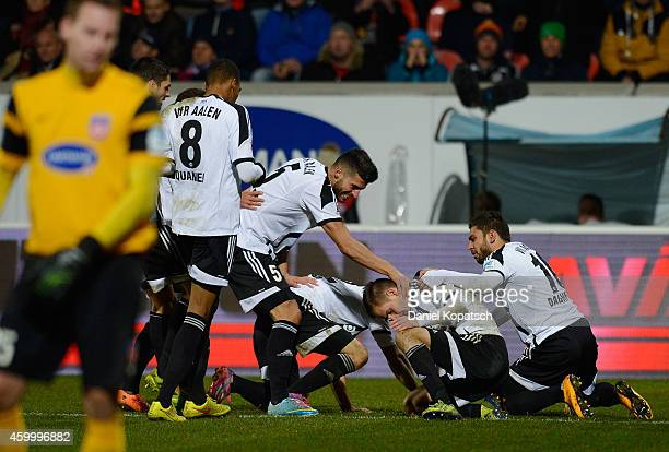 Dominick Drexler of Aalen celebrates his team's first goal with team mates during the second Bundesliga match between 1 FC Heidenheim and VfR Aalen...