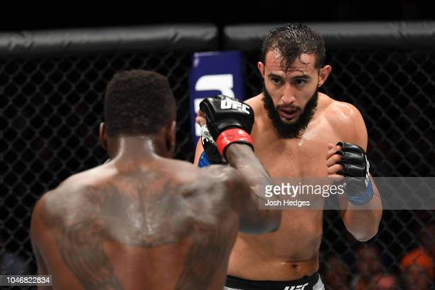 Dominick Reyes and Ovince Saint Preux touch gloves in their light heavyweight bout during the UFC 229 event inside TMobile Arena on October 6 2018 in...