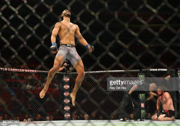 Dominick Reyes celebrates after his bout against Jeremy Kimball during the UFC 218 event at Little Caesars Arena on December 2 2017 in Detroit...
