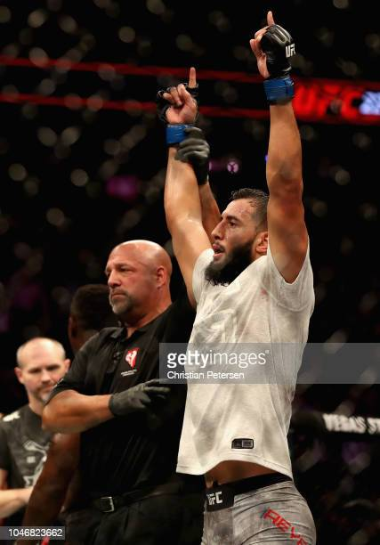 Dominick Reyes celebrates defeating Ovince Saint Preux in their light heavyweight bout during the UFC 229 event inside TMobile Arena on October 6...