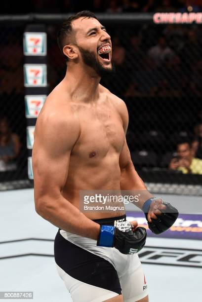 Dominick Reyes celebrates his knockout victory over Joachim Christensen of Denmark in their light heavyweight bout during the UFC Fight Night event...