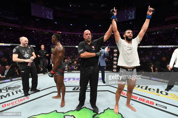 Dominick Reyes celebrates his victory against Ovince Saint Preux in their light heavyweight bout during the UFC 229 event inside TMobile Arena on...