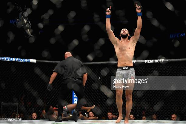 Dominick Reyes celebrates knocking out Ovince Saint Preux in their light heavyweight bout during the UFC 229 event inside TMobile Arena on October 6...