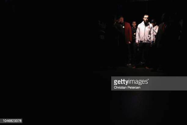 Dominick Reyes enters the arena to take on Ovince Saint Preux in their light heavyweight bout during the UFC 229 event inside TMobile Arena on...