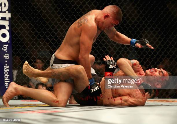 Dominick Reyes fights Ovince Saint Preux in their light heavyweight bout during the UFC 229 event inside TMobile Arena on October 6 2018 in Las Vegas...
