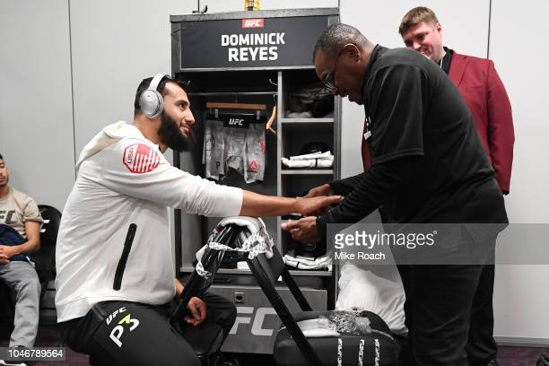 Dominick Reyes has his hands wrapped backstage during the UFC 229 event inside TMobile Arena on October 6 2018 in Las Vegas Nevada