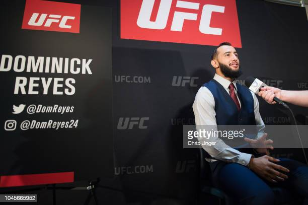 Dominick Reyes interacts with media during the UFC 229 Ultimate Media Day at the Park MGM Las Vegas on October 4 2018 in Las Vegas Nevada