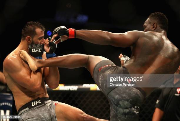 Dominick Reyes kicks Ovince Saint Preux in their light heavyweight bout during the UFC 229 event inside TMobile Arena on October 6 2018 in Las Vegas...