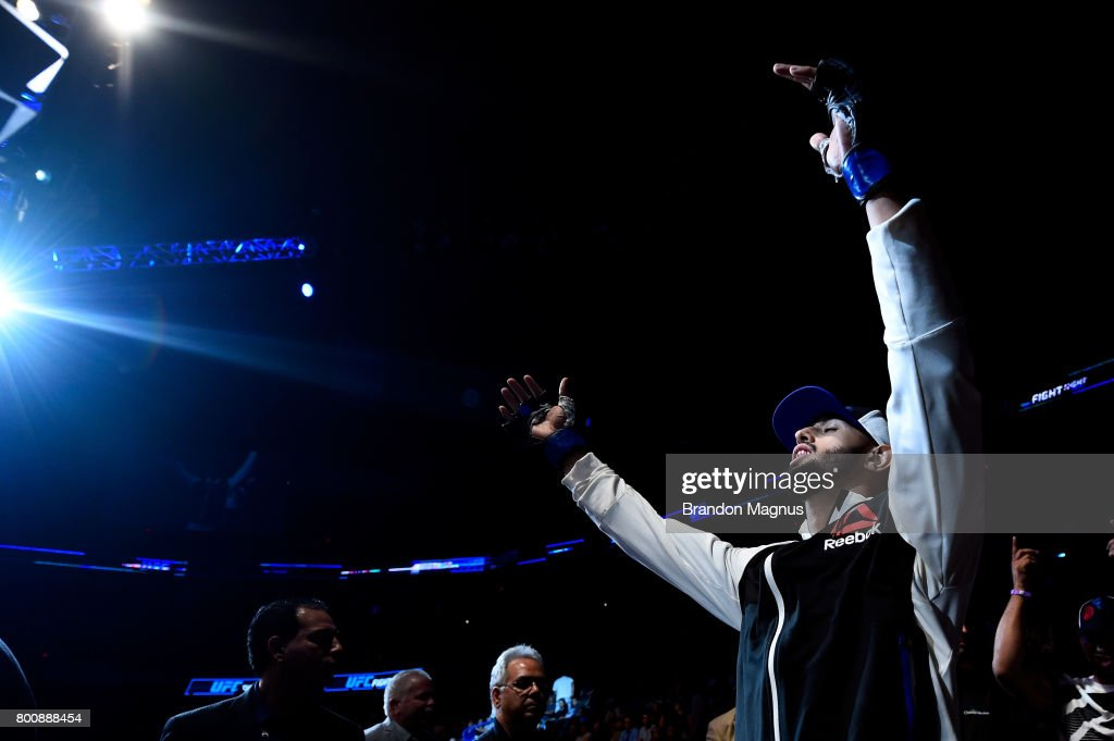 Dominick Reyes prepares to enter the Octagon prior to his light heavyweight bout against Joachim Christensen of Denmark during the UFC Fight Night event at the Chesapeake Energy Arena on June 25, 2017 in Oklahoma City, Oklahoma.