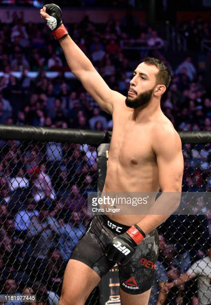 Dominick Reyes prepares to fight Chris Weidman in their light heavyweight bout during the UFC Fight Night event at TD Garden on October 18 2019 in...