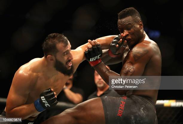 Dominick Reyes punches Ovince Saint Preux in their light heavyweight bout during the UFC 229 event inside TMobile Arena on October 6 2018 in Las...