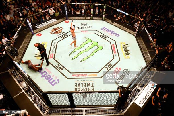 Dominick Reyes reacts after knocking down Ovince Saint Preux in their light heavyweight bout during the UFC 229 event inside TMobile Arena on October...