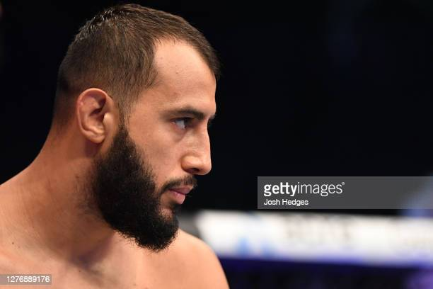 Dominick Reyes stands in his corner prior to facing Jan Blachowicz of Poland in their light heavyweight championship bout during UFC 253 inside Flash...