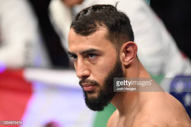 Dominick Reyes stands in his corner prior to his light heavyweight championship bout during the UFC 247 event at Toyota Center on February 08 2020 in...