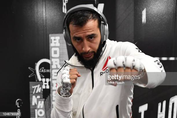 Dominick Reyes warms up backstage during the UFC 229 event inside TMobile Arena on October 6 2018 in Las Vegas Nevada