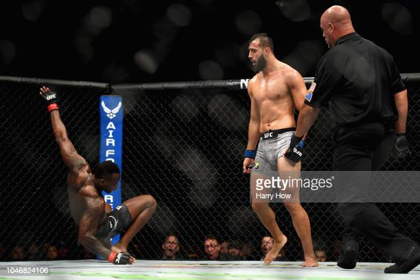 Dominick Reyes watches as Ovince Saint Preux falls to the mat in their light heavyweight bout during the UFC 229 event inside TMobile Arena on...