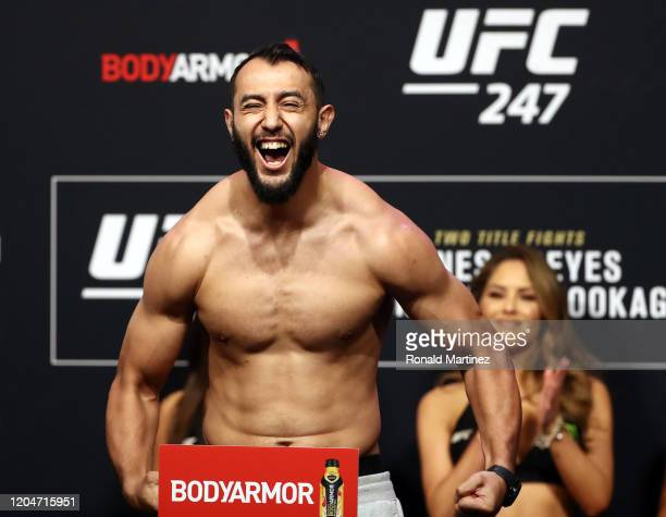 Dominick Reyes yells on the scale during the UFC 247 ceremonial weigh-in at Toyota Center on February 07, 2020 in Houston, Texas.