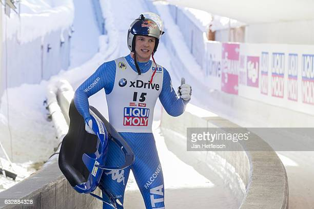 Dominiik Fischnaller of Italy reacts after his run in the Sprint Men Final of the FILSprint World Championships at Olympiabobbahn Igls on January 27...