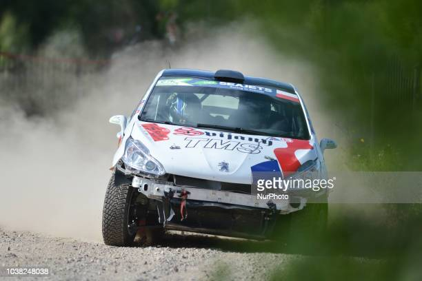 Dominik Broz and Petr Tesinsky on Peugeot 208 R2 in action during Mikolajki MAX 913km stage on Day Two of the PZM 75th Rally Poland in Hotel...