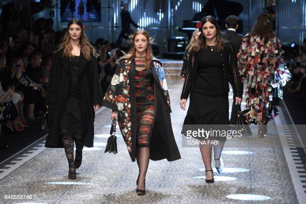 Dominik Daniella and Alessandra GarciaLorido daughters of US actor Andy Garcia walk the runway during the show for fashion house Dolce Gabbana during...