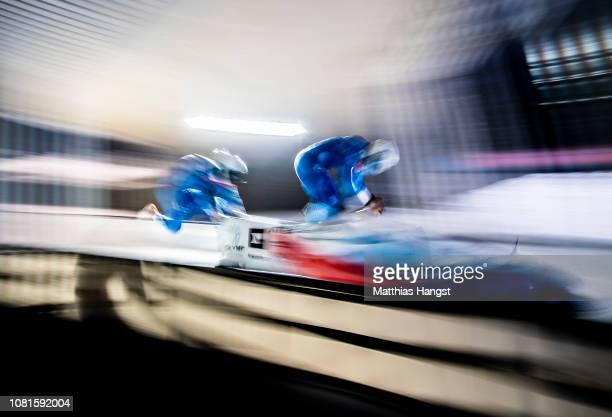 Dominik Dvorak and Jakub Nosek of Czech Republic compete during the BMW IBSF Men's 2Man Bobsleigh World Cup and European Championships at Deutsche...