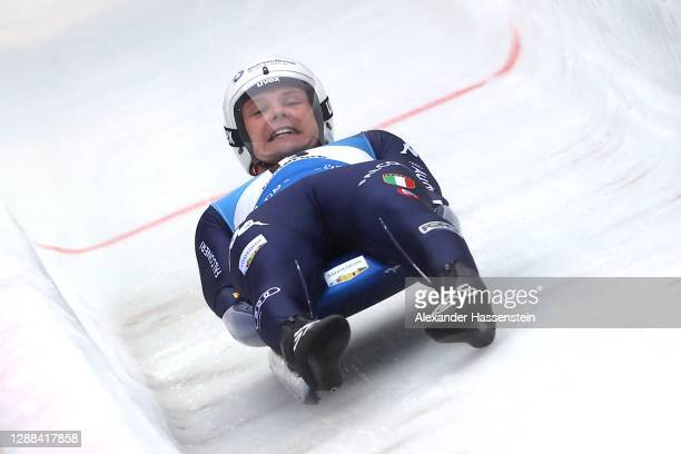 Dominik Fischnaller of Italy competes in the Sprint event during the FIL Luge World Cup at Olympia-Rodelbahn on November 29, 2020 in Innsbruck,...