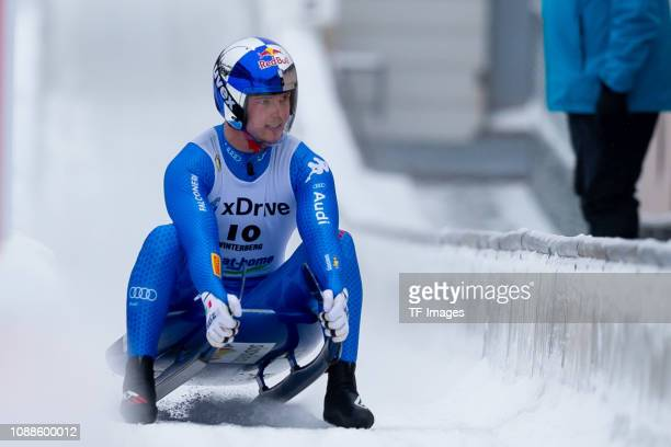 Dominik Fischnaller of Italy completes the sprint men's competition of the FIL World Cup at Veltins Eis-Arena on January 25, 2019 in Winterberg,...