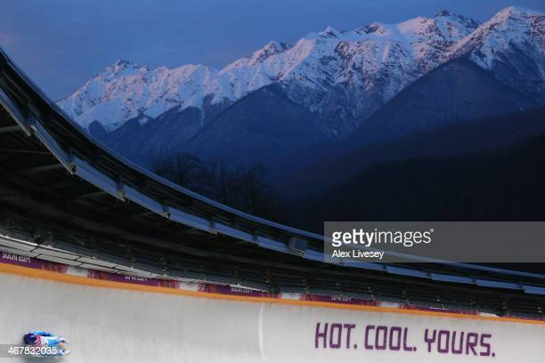 Dominik Fischnaller of Italy makes a run during the Luge Men's Singles on Day 1 of the Sochi 2014 Winter Olympics at the Sliding Center Sanki on...