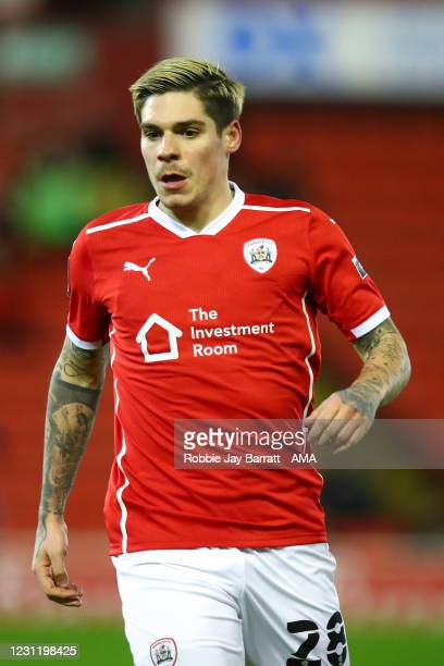 Dominik Frieser of Barnsley during The Emirates FA Cup Fifth Round match between Barnsley and Chelsea at Oakwell Stadium on February 11, 2021 in...