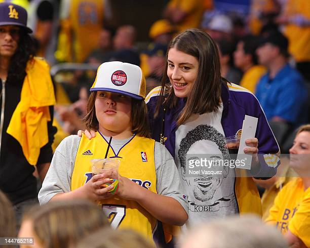 Dominik Garcia-Lorido and Andres Garcia attend the Los Angeles Lakers and Oklamhoma City Thunder Game 3 of the Western Conference Semifinals in the...