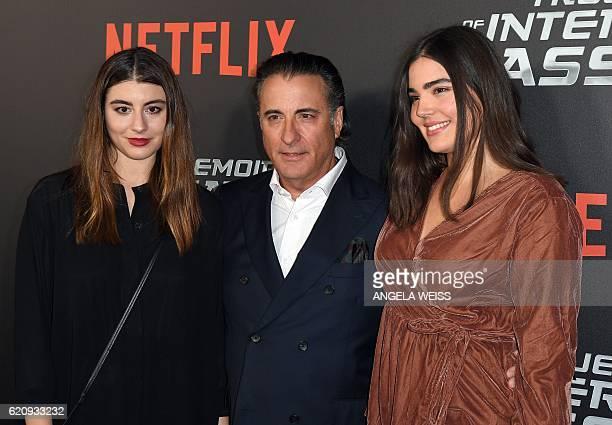 Dominik GarciaLorido Andy Garcia and Alessandra Garcia Lorido attend the Netflix premiere of 'True Memoirs of An International Assassin' at AMC...