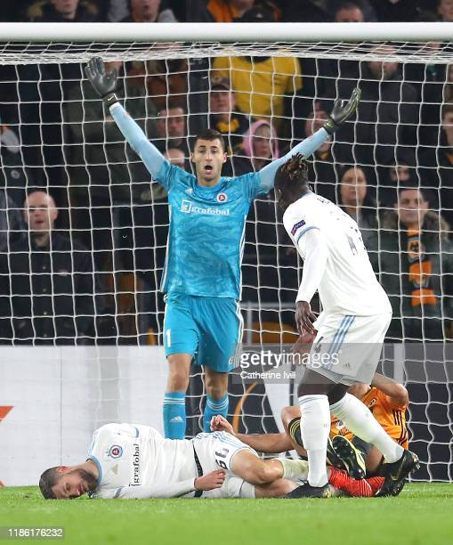 Dominik Greif of Slovan Bratislava reacts after Kenan Bajric of Slovan Bratislava goes down following a challenge during the UEFA Europa League group...