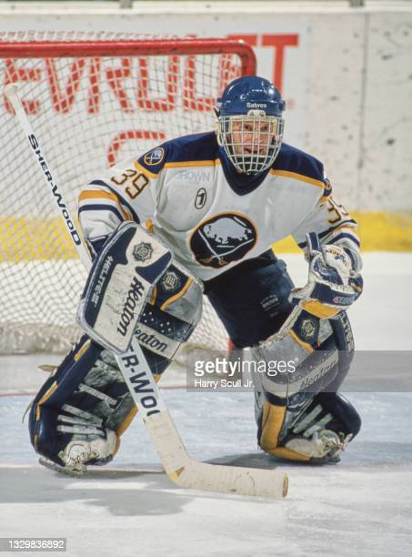 Dominik Hasek, Goaltender for the Buffalo Sabres looks on from in front of the goal post during the NHL Eastern Conference Northeast Division game...