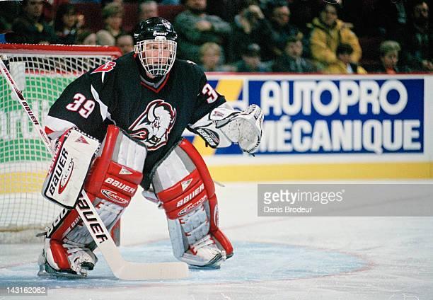 Dominik Hasek of the Buffalo Sabres follows the action Circa 1996 at the Montreal Forum in Montreal, Quebec, Canada.