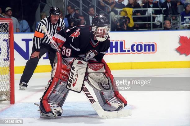 Dominik Hasek of the Buffalo Sabres skates against the Toronto Maple Leafs during the 1999 NHL Semi-Final playoff game action at Air Canada Centre in...