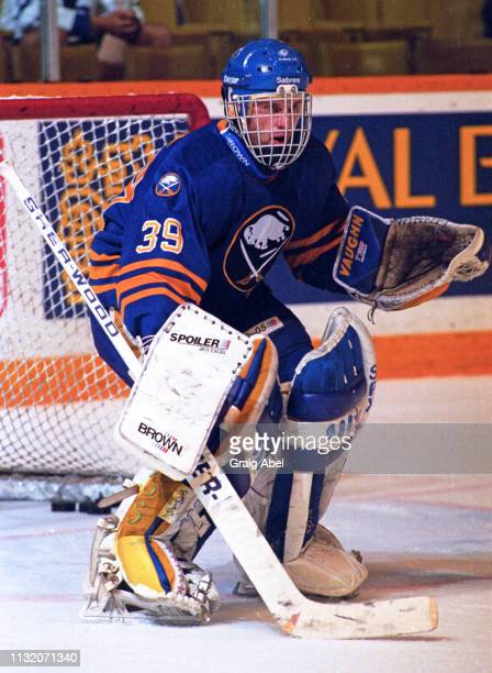 Dominik Hasek of the Buffalo Sabres skates against the Toronto Maple Leafs during NHL preseason game action on September 17, 1994 at Maple Leaf...