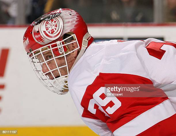 Dominik Hasek of the Detroit Red Wings guards the net against the Buffalo Sabres on March 2, 2008 at HSBC Arena in Buffalo, New York.