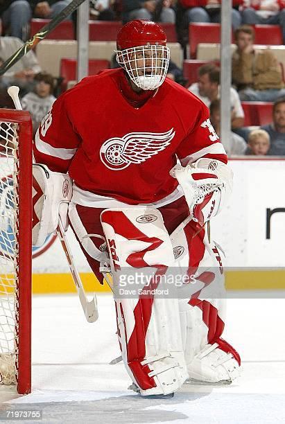 Dominik Hasek of the Detroit Red Wings skates across the crease against the Tampa Bay Lightning during their NHL pre-season game at Joe Louis Arena...