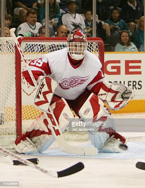 Dominik Hasek of the Detroit Red Wings tends goal against the San Jose Sharks in Game 3 of the 2007 Western Conference Semifinals on April 30 2007 at...