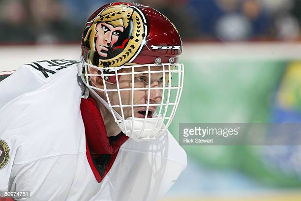 Dominik Hasek of the Ottawa Senators looks on against the Buffalo Sabres on February 4 2006 at HSBC Arena in Buffalo New York The Sabres won 21 in a...