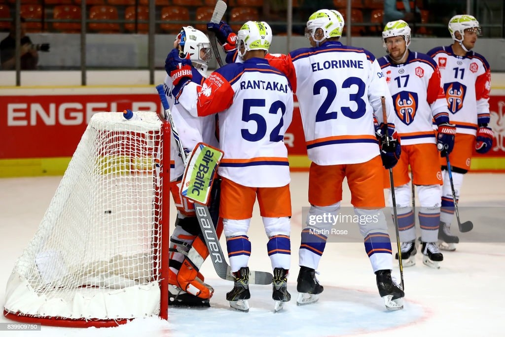 Dominik Hrachovina, goaltender of Tampere celebrate victory with his team mates after the Champions Hockey League match between Grizzlys Wolfsburg and Tappara Tampere at Eis Arena Wolfsburg on August 27, 2017 in Wolfsburg, Germany.