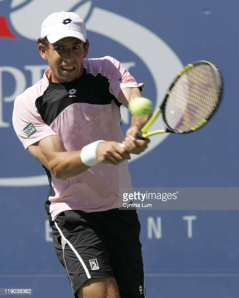 Dominik Hrbaty in action during his loss to Lleyton Hewitt in their 4th round match at the 2005 US Open at the National Tennis Center in Flushing New...