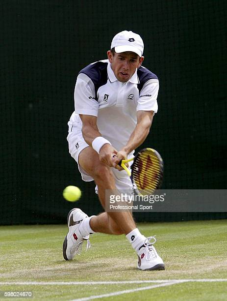 Dominik Hrbaty of Slovakia in action during his second round match against Mark Hilton of Great Britain at the Wimbledon Lawn Tennis Championship on...