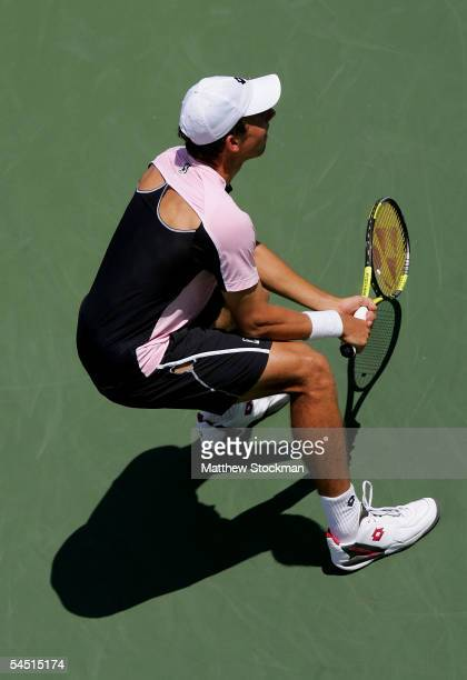 Dominik Hrbaty of Slovakia is shown during his match against David Ferrer of Spain during the US Open at the USTA National Tennis Center in Flushing...