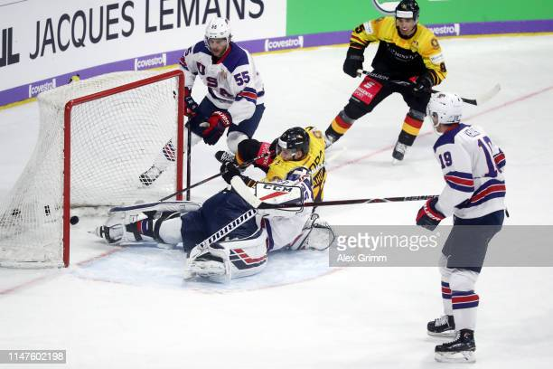 Dominik Kahun of Germany scores his team's second goal past goalkeeper Cory Schneider of USA during the international friendly game between Germany...