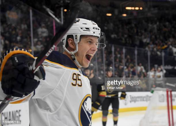 Dominik Kahun of the Buffalo Sabres reacts after scoring a firstperiod goal against the Vegas Golden Knights during their game at TMobile Arena on...